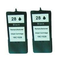 2 sztuk regenerowane do Lexmark 28 czarny wkład atramentowy 18C1528 dla X2500 X2530 Z1300 X2510 X5075 Z1310 X5490 X5495 Z845 Z1320