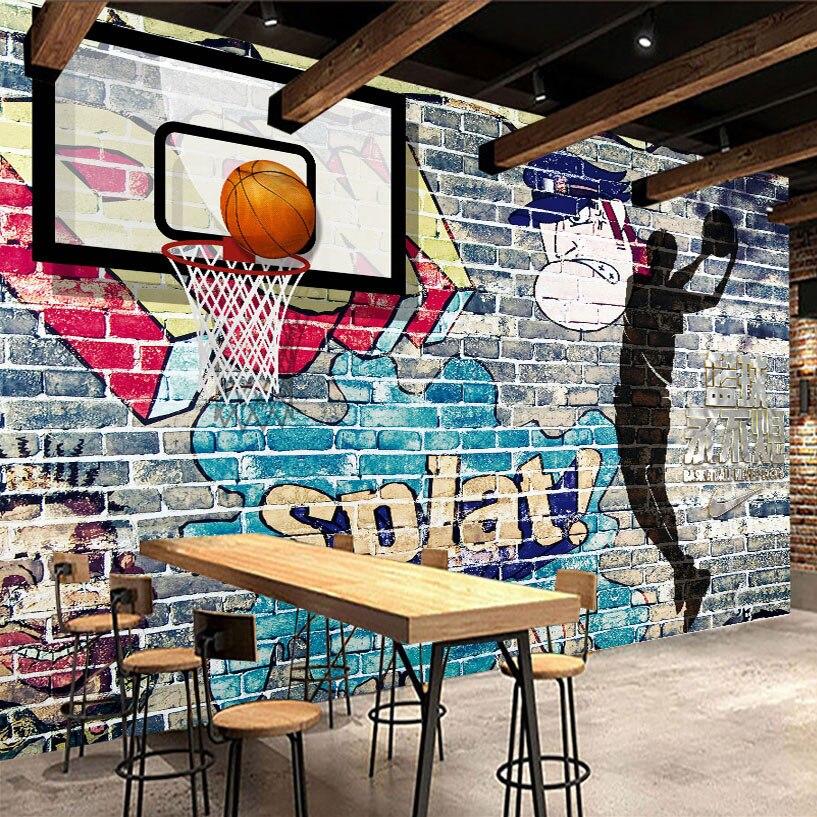 Papier peint Mural personnalisé   Graffiti abstrait, brique, toile de fond, peinture murale pour basket-ball, photos décoratives, salon