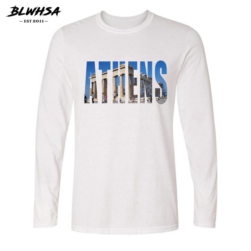 BLWHSA Greece Capital Athens City Print Casual Cotton T-shirts Men Long Sleeve O-neck Tshirt Autumn Spring White Men's Tops Tees
