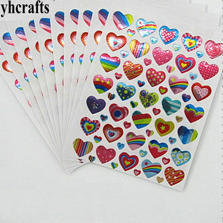 10 листов (350 шт.)/партия, лазерные бумажные наклейки в виде сердец, раннее учебное ремесло, diy игрушечный набор для скрапбукинга, школьный лейбл
