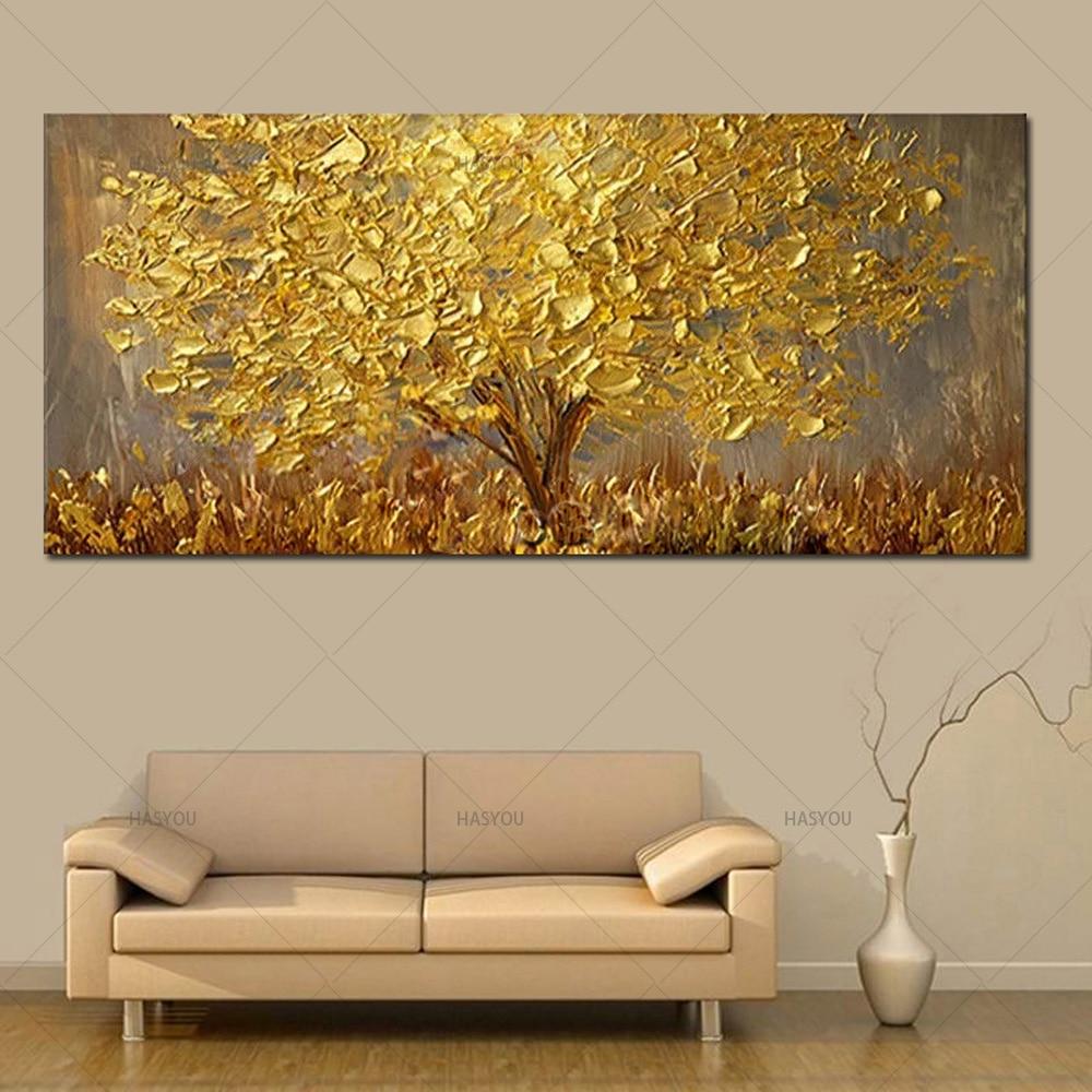 Cuchillo pintado a mano, pintura al óleo de Árbol de Oro sobre lienzo, paleta grande, pinturas 3D para sala de estar, imágenes artísticas abstractas modernas para pared
