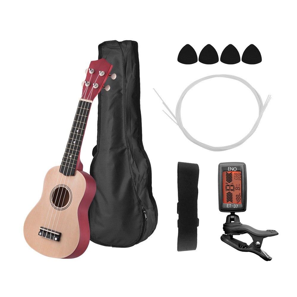 "21 ""Equipo de Ukulele Soprano Ukelele concierto Uke mini Guitarra con bolso de Uke Correa cuerdas de banjo recoge sintonizador"