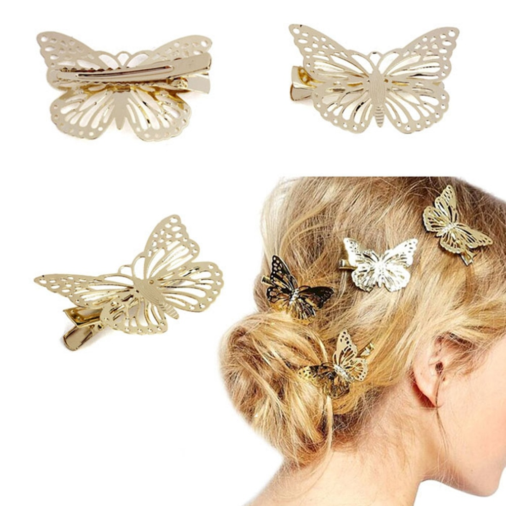 Top sale! women lady Golden Butterfly Hair Accessories Hair Clip Headpiece Hair Head Side Decor Wedding Jewelry #y
