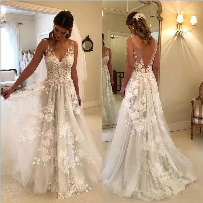 Beach Vestido De Noiva Wedding Dresses A-line V-neck Tulle Lace Backless Dubai Arabic Boho Wedding Gown Bridal Dresses