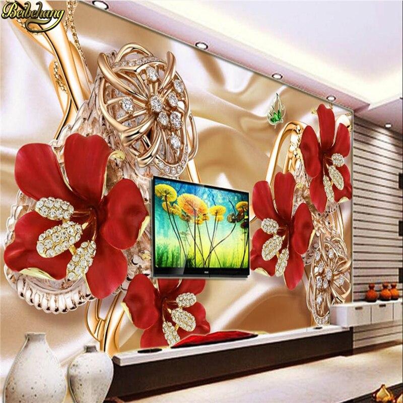 Papel pintado de foto personalizado beibehang, papel tapiz 3d con joyas variadas, flores, café, restaurante, hotel temático, mural de papel de pared