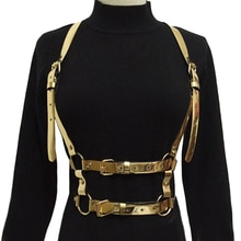 Jarretelles en cuir pour femmes   Sexy Harajuku, guirlandes, couleur cuir, Cage de Bondage, sculpture, harnais, ceinture de taille, bretelles, bretelles, ceinture de robe
