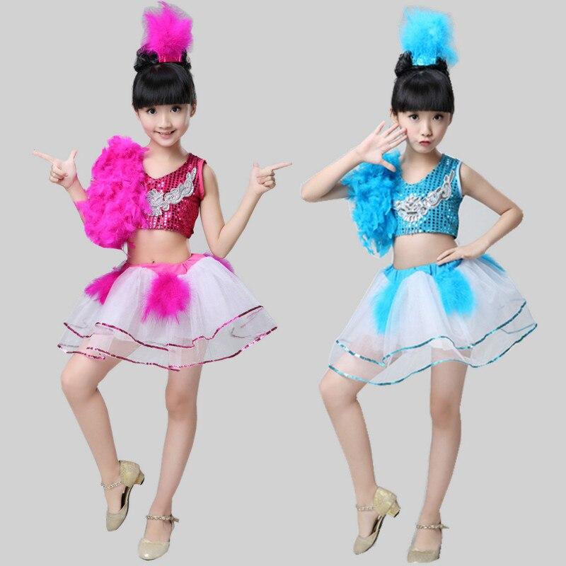 Girls ballet new childrens jazz dance costumes pettiskirt yarn skirt sequins clothes modern girls show