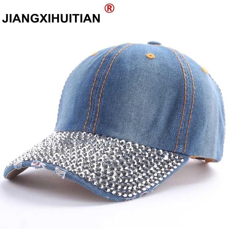 GD luxury Baseball Caps 2017 New style Pure men and women sun hat rhinestone hats denim and cotton snapback cap hip-hop hat