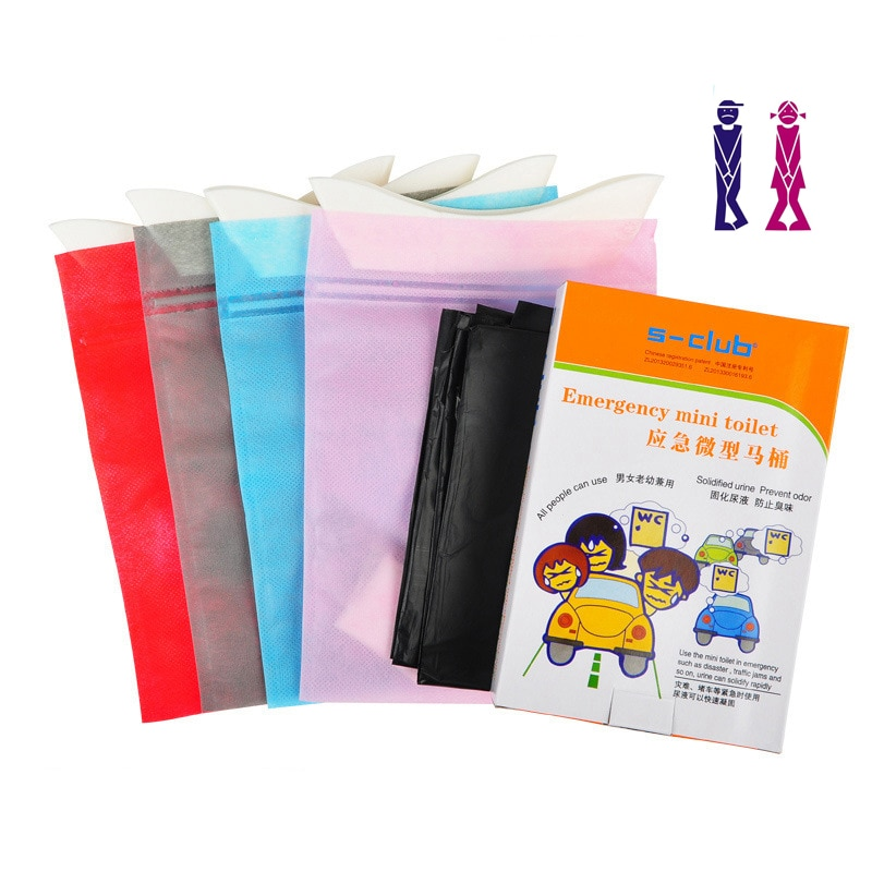 Bolsas portátiles para orina de coche de emergencia, 4 Uds., bolsas para vómito, Mini inodoros móviles, desechables, prácticas, Unisex, para uso en exteriores