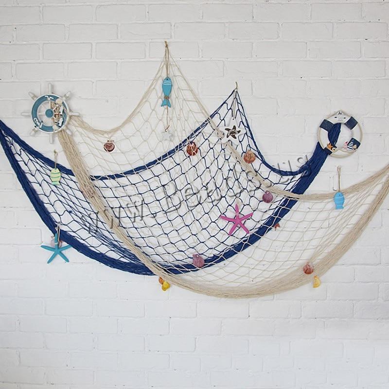 2Pcs/Bag 3D Nautical Ocean Theme Home Fishing Net Fish Net Hanging Ornaments Mediterranean Style Wall Decor Hanging Props