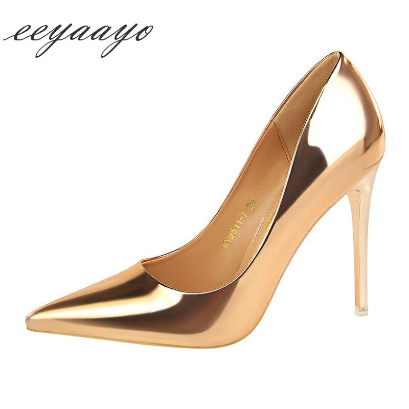 2019 nuevo PRIMAVERA/otoño zapatos de mujer de tacón alto fino puntiagudos de oficina Sexy de oficina para fiesta de noche para mujer zapatos de tacón alto