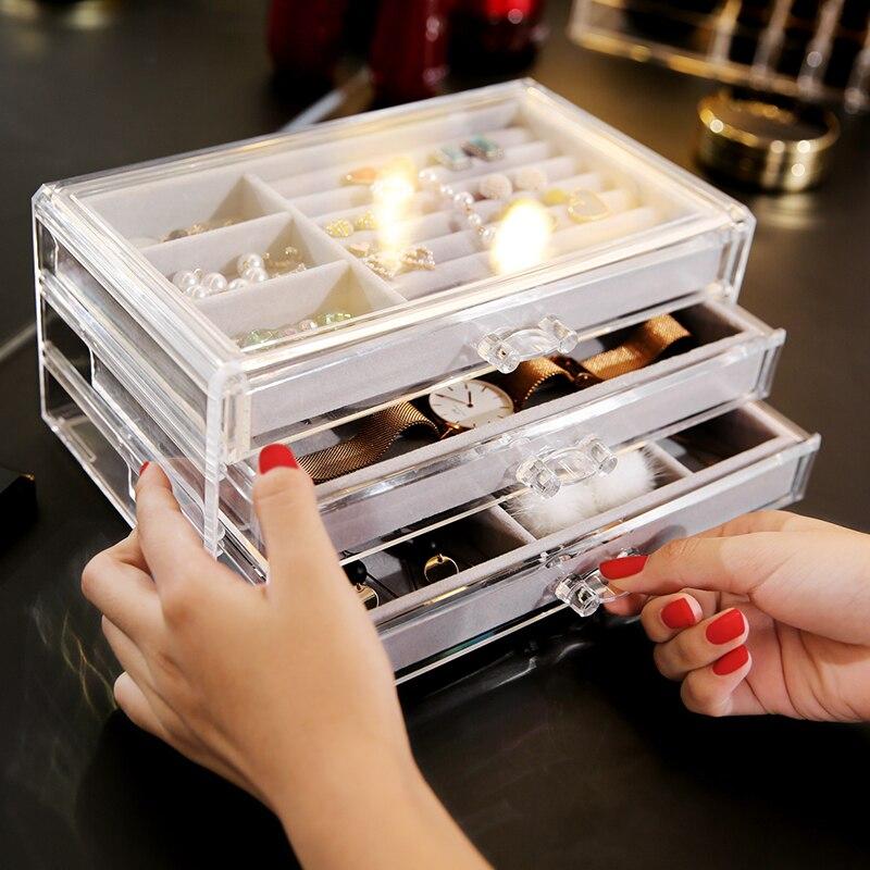 ANFEI C171 boîte de rangement 3 tiroirs   En plastique transparent, rangement de bijoux, boîte plateau de rangement en PS transparent, tiroirs de rangement avec plateau pour bijoux et bagues C171