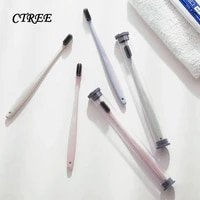 ctree 2pcs travel portable children adult couple toothbrush charcoal black soft toothbrush oral care bath toothbrush suit c836