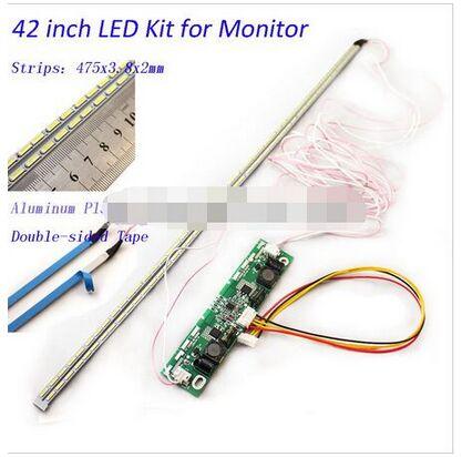 Kit de actualización de lámparas de luz de fondo de tira de placa de aluminio LED de 42 pulgadas para Panel de TV de Monitor LCD 2 tiras LED 475mm nuevo