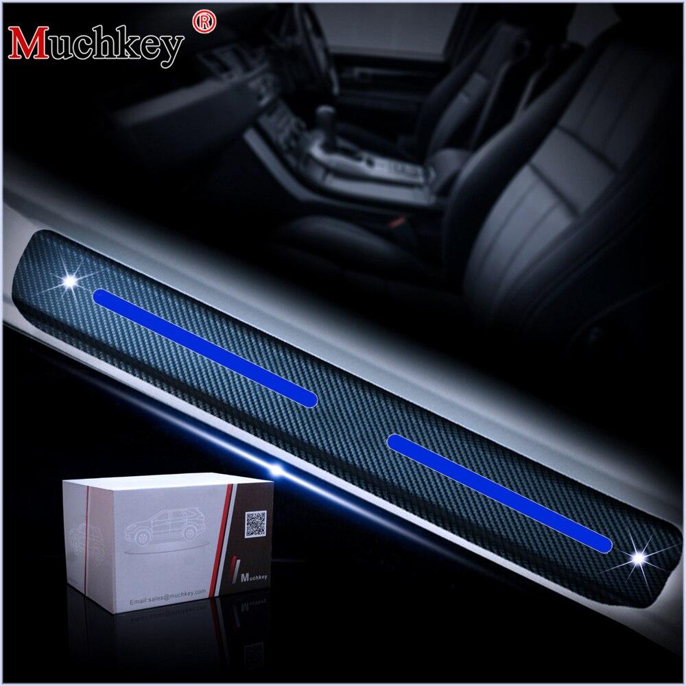 4 Uds estilo de coche para Ford Explorer 2011 a 2017 4D fibra de carbono adhesivo protector de umbral de puerta del coche protectores pegatinas de placa de desgaste