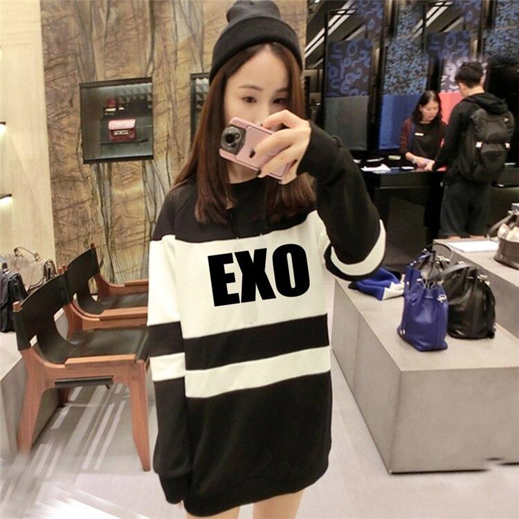 Kpop exo terra Sehun Xiumin kar Baekhyun etiqueta mujeres Sudadera con capucha estilo harajuku exo k-pop tops Otoño Invierno harajuku camisa