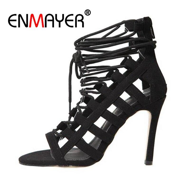 Enmayer senhora gladiador sapatos mulher de salto alto tornozelo cinta sandálias femininas verão novo peep toe saltos finos rebanho sandálias femininas cr53