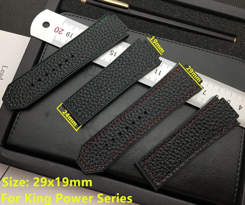 Negro 29*19mm cuero de vaca suave real con correa de reloj de goma para correa de Hublot para king power series logo en herramienta gratis