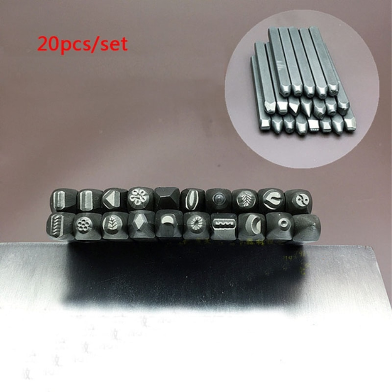 High quality 20Pcs/lot Steel Design Stamp Punch Tool for DIY Beading & Jewelry Making Metal Design Hand Tool set