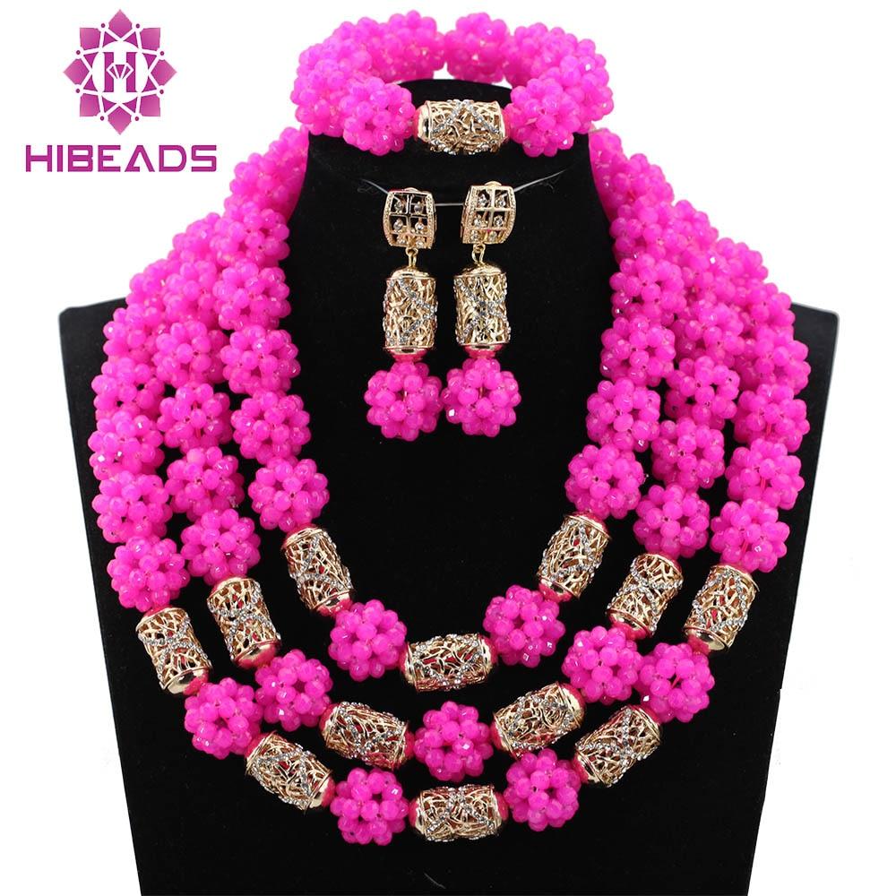 Fabulous Fuchsia Pink Crystal Balls Wedding Jewelry Set Hot Pink Bridal Indian Jewellery Necklace Set New 2017 WE010