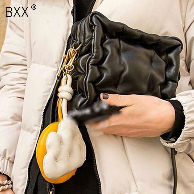 [BXX] 2021 Spring summer Woman new personality silver color single strap soft box shape shoulder bag all match LM111