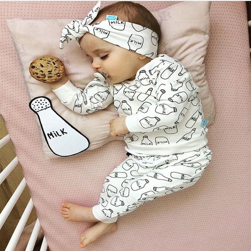 Ropa para Niñas recién nacidas, camiseta blanca de manga larga con estampado de leche, Tops + Pantalones + diadema, bonito conjunto de ropa infantil de Otoño de 3 uds
