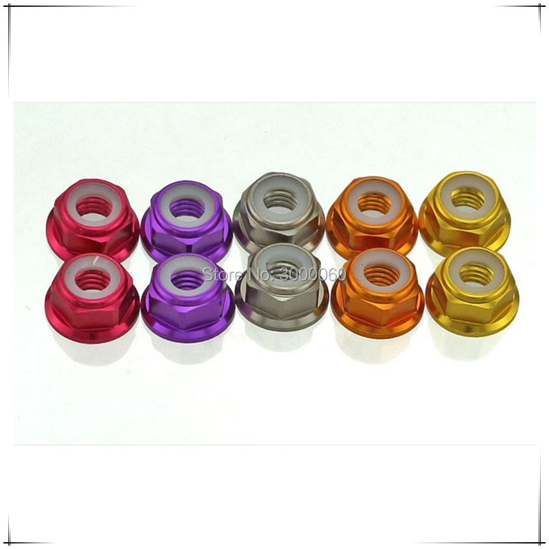 Купить с кэшбэком Red Blue Gold Pink Colorful Anodized Aluminum Alloy Nylon Flange Lock Nut 50pcs(Color can mixed)