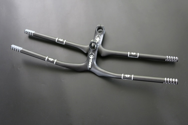 TEMANI 3k carbono montaña bici integrado manillar plano elevador MTB vástago de manillares de piezas de bicicleta tenedor diámetro 28,6*600-760 MM