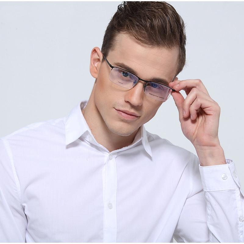 التيتانيوم النظارات الإطار الرجال خفيفة مربع قصر النظر وصفة طبية النظارات الذكور المعادن كامل نظارات إطارات بصرية S8803