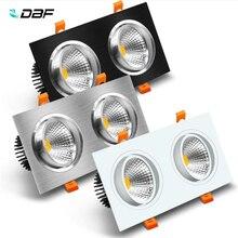 [DBF]Double tête LED encastrable carrée Dimmable 14W 18W 24W 30W plafond Spot lumière chambre salon cuisine décoration AC220V