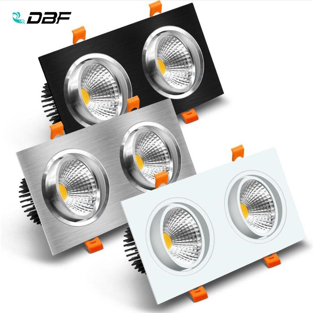 [DBF] doble cabeza cuadrada LED Downlight regulable 14W 18W 24W 30W foco de techo dormitorio sala de estar cocina decoración AC220V