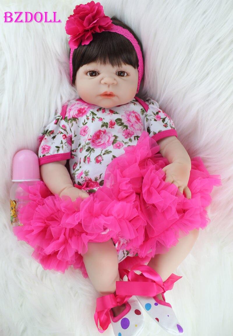 BZDOLL 55cm Full Silicone Body Reborn Baby Doll Toy Realistic Newborn Princess Girls Babies Doll Kid Brinquedos Bathe Toy