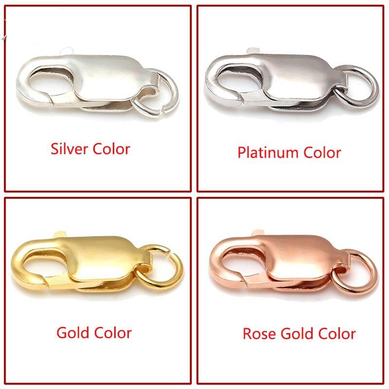 5 unids/lote cierres de langosta de Plata de Ley 925 para collar hebillas de pulsera con anillos 4 colores 8-16 MM opciones de tamaño