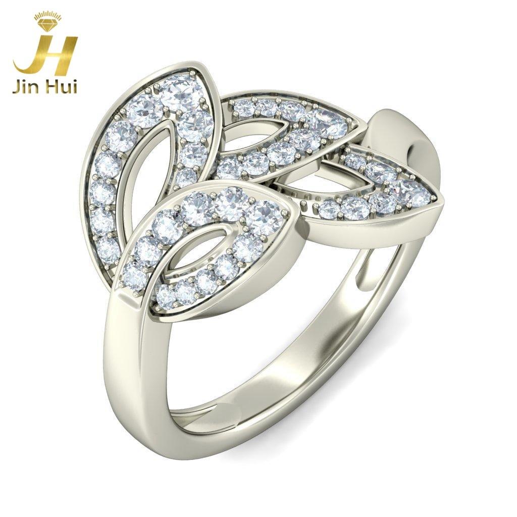 Jinhui Unisex The Caipirinha Ring Solid 18K White 750 Gold 0.452CT Natural Diamond  Jewelry  Free Engraving