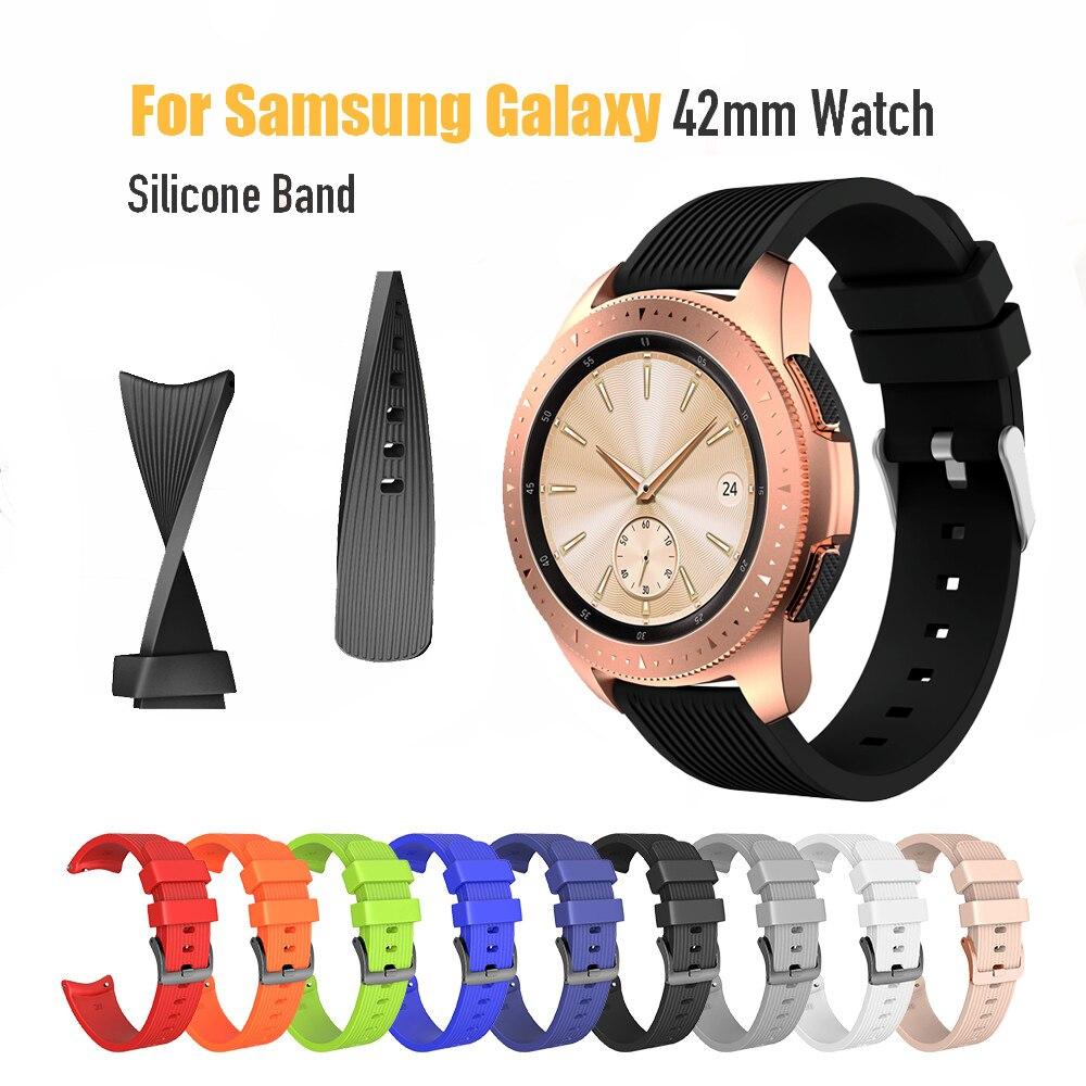 Correa deportiva de silicona para reloj Samsung Galaxy, correa de 20mm, 42mm, 46mm para Samsung Gear Sport/Gear S2, silicona clásica