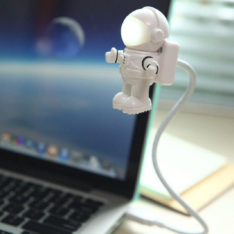 Astronauta hombre del espacio USB LED luz de noche ajustable Flexible Lámpara de lectura de libros para ordenador PC y portátil Notebook Creative Lighting