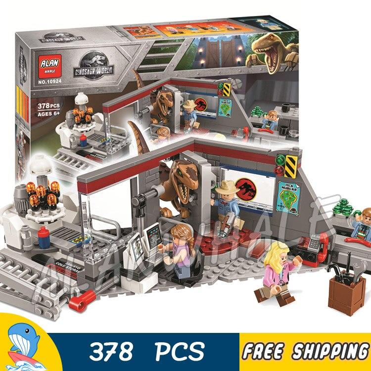 378 piezas Jurásico parque mundial Velociraptor Chase Alan beca figura bloques de construcción dinosaurio ensamblar juguete Compatible con lago