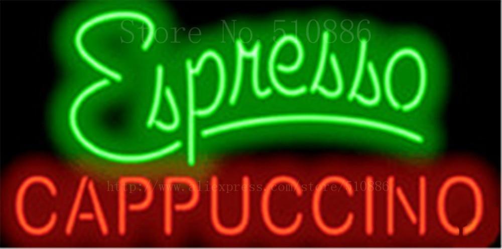 Эспрессо капучино неоновая вывеска Настоящее стекло лампочка светильник Бар