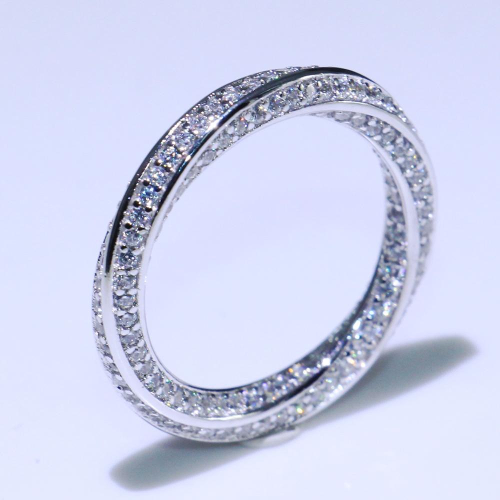 2019 Venta caliente nueva marca Vintage joyería de moda 925 Plata de Ley pavé blanco claro 5A Zirconia cúbica anillo de boda regalo