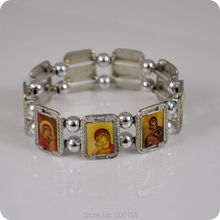 Orthodox Icon Rosary Beads Bracelet JESUS Virgin Mary Fashion Religious Jewelry Alloy Elastic Bracelets