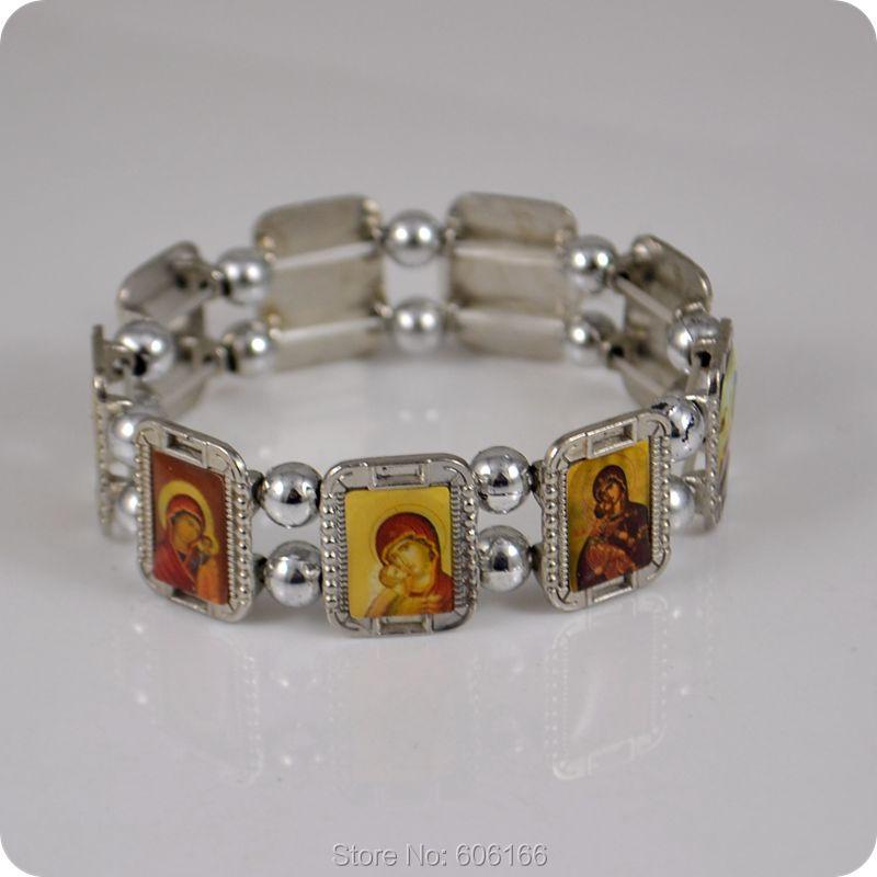 Orthodoxe Icon Rosenkranz Armband JESUS Jungfrau Maria Mode Religiöse Schmuck Alloy Elastic Armbänder