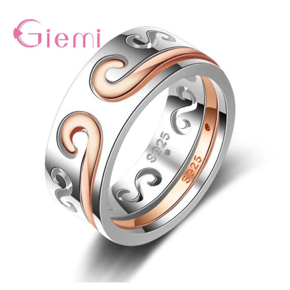 Diseño único, lo más nuevo de moda, cuento de hadas, Plata de Ley 925, rosa, pareja de anillo de oro para hombres y mujeres, regalo de joyería de boda