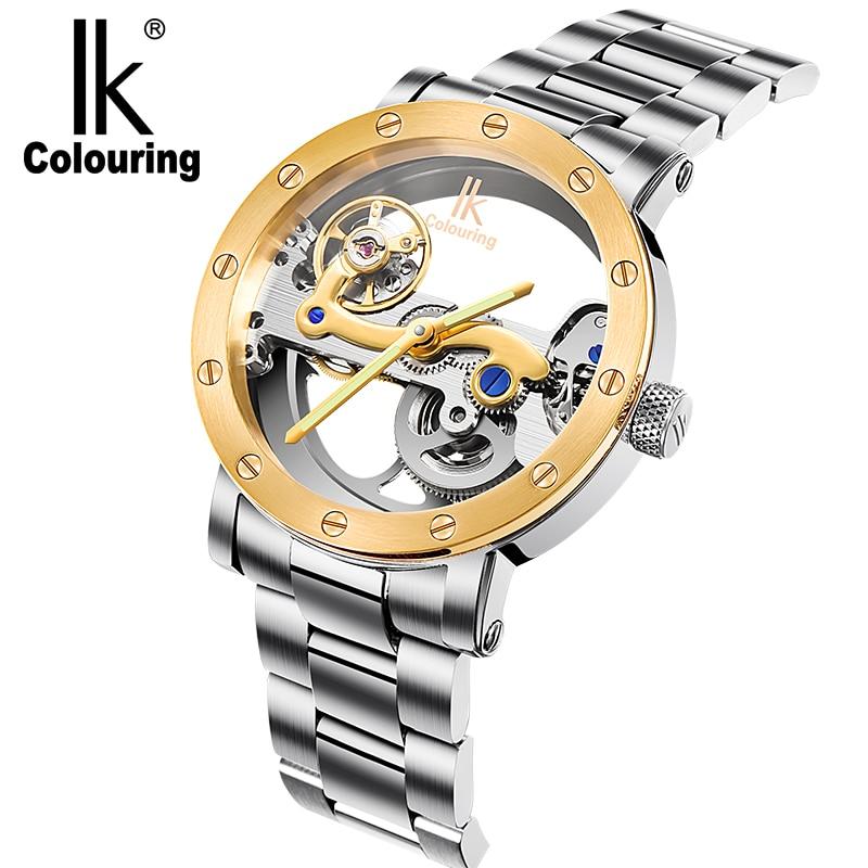 IK color-ساعات رجالية مقاومة للماء 5ATM ، ميكانيكية ، أوتوماتيكية ، من الفولاذ المقاوم للصدأ ، جسر هيكلي Herren Uhr