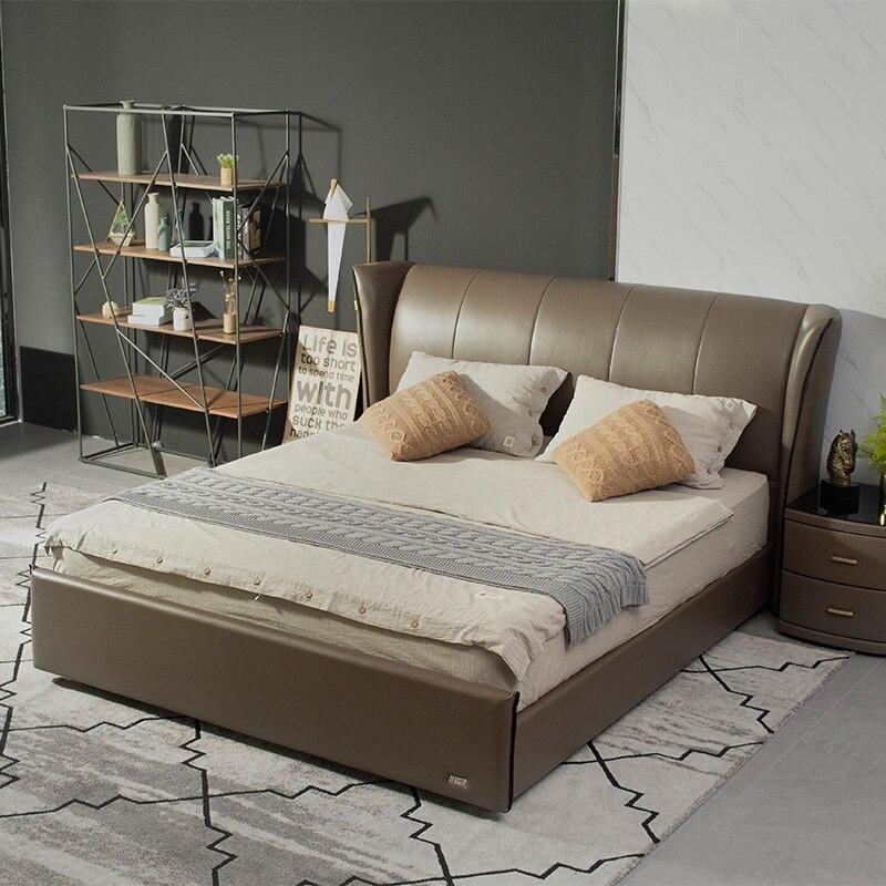 El último diseño de Tuft rey real tamaño negro de cuero tapizado de la cama