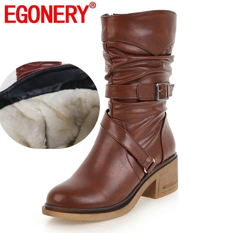EGONERY, botas de nieve a la moda para mujer, zapatos con hebilla de buena calidad, punta redonda, 3 colores, negro, marrón, invierno, nuevo estilo, botas de media caña