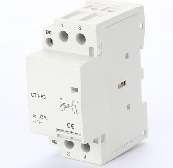 2P 2NO 220V CT1-63 63Amps household AC contactor modular contactor