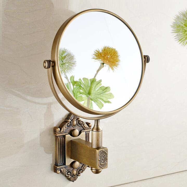 Античное Латунное 6-дюймовое настенное двухстороннее косметическое зеркало, металлическое зеркало для ванной комнаты 3X косметическое зерк...