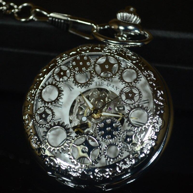 TIEDAN серебряные Механические карманные часы в стиле стимпанк мужские ретро