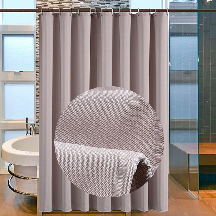 Waterproof Mildew Thickening Shower Curtain Solid Color Bathroom Imitation linen D40