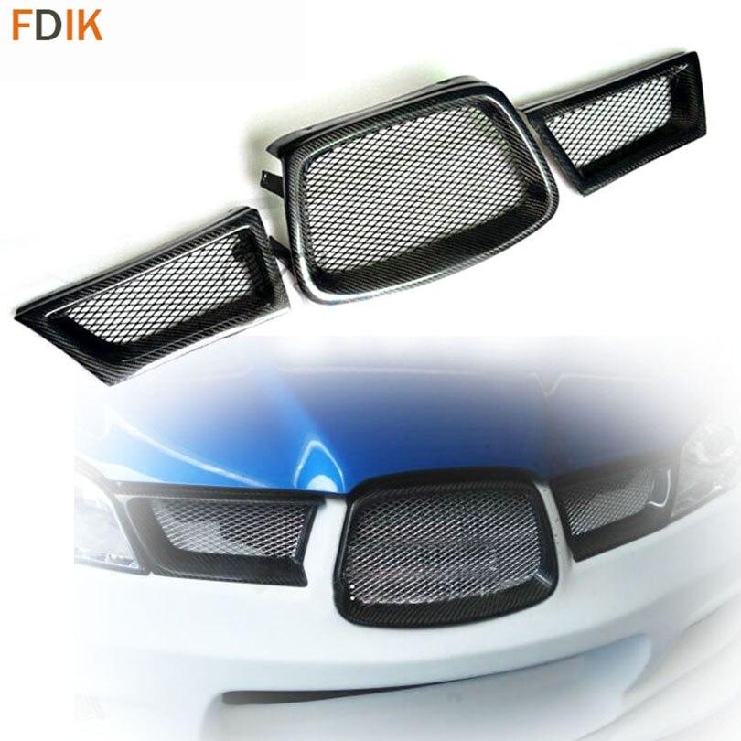 Rejilla inferior para conducto frontal de fibra de carbono, brillante, 3 uds., para Subaru Impreza WRX STI 2005 2006 2007
